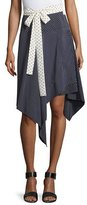 Alexis Danica Asymmetric-Hem Wrap Skirt, Navy