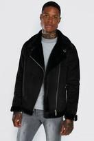 boohoo Mens Black Faux Fur Lined Suede Aviator, Black