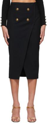 Balmain Black Serge Wrap Skirt