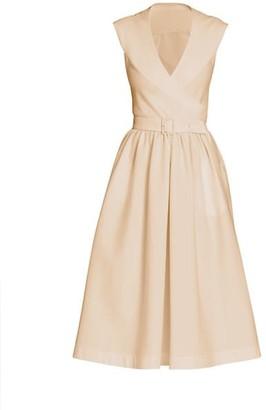 Alaia Sleeveless Belted Poplin Wrap Dress