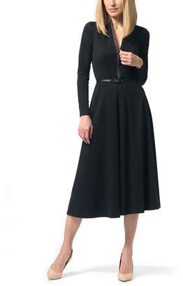 LADA LUCCI Women's Casual Dresses Black - Black Zip-Up Long-Sleeve A-Line Dress - Women & Plus
