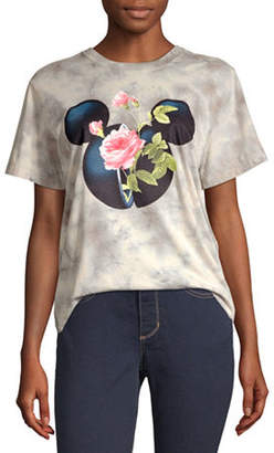 Disney Collection-Juniors Mickey Mouse Womens Crew Neck Short Sleeve Mickey Mouse Graphic T-Shirt