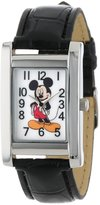 Disney Women's MCK835 Mickey Mouse Silver Rectangular Case Black Strap Watch