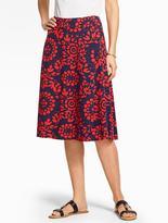 Talbots Jersey-Knit Skirt - Flower Medallions