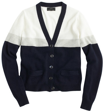 J.Crew Collection cashmere V-neck cardigan in colorblock