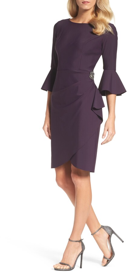 Alex Evenings Bell Sleeve Sheath Dress