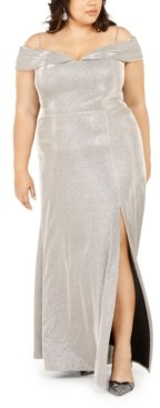 Morgan & Company Trendy Plus Size Off-The-Shoulder Shimmer Gown