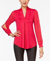 Cable & Gauge Cold-Sleeve Knit Blouse
