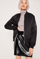 Missguided Soft Touch Bomber Jacket Black
