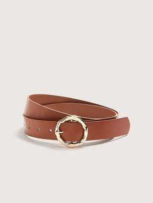 Addition Elle Faux Leather Belt with Hammered Buckle