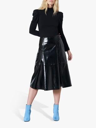 Finery Lexi Cotton Puff Sleeve T-Shirt, Black