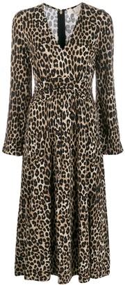 MICHAEL Michael Kors Cheetah Pattern Midi Dress