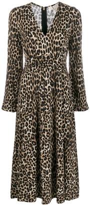 MICHAEL Michael Kors cheetah pattern midi dress