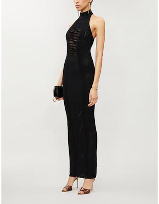 Balmain Ribbed halter neck knitted maxi dress