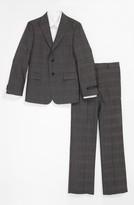 John Varvatos Check Wool Suit (Big Boys)