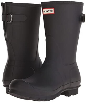 Hunter Short Back Adjustable Rain Boots (Black) Women's Rain Boots