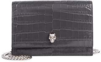 Alexander McQueen Mini Skull Croc Embossed Leather Shoulder Bag