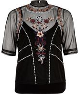 River Island Womens Black embroidered cami top