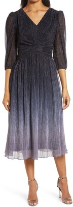 Julia Jordan Metallic Ombre Plisse Cocktail Dress