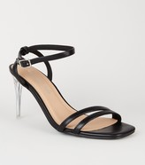 New Look Leather-Look 2 Strap Clear Stiletto Heels