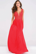 Jovani Sheer Neckline Embroidery Beaded Prom Dress JVN41466