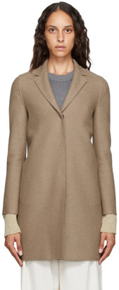 Harris Wharf London Brown Pressed Wool Cocoon Coat