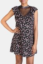 En Creme Floral Ruffle Sleeve Dress