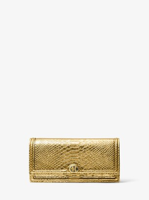 Michael Kors Monogramme Metallic Python Embossed Leather Clutch
