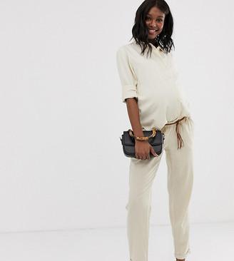 Mama Licious Mama.Licious Mamalicious maternity linen braided belt trouser-Beige