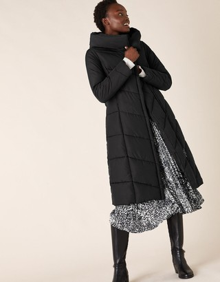 Monsoon Bettina Long Padded Coat in Recycled Fabric Black