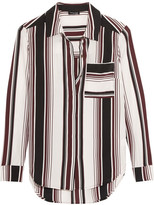 Splendid Luxe Striped Washed-silk Shirt - Merlot