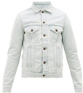 Off-White Off White Logo-print Cotton Denim Jacket - Mens - Light Blue