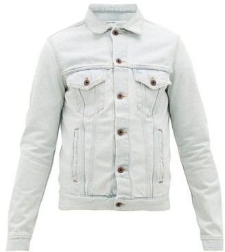 Off-White Logo-print Cotton Denim Jacket - Mens - Light Blue