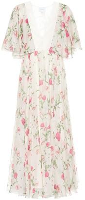 Giambattista Valli Lace-trimmed floral silk midi dress