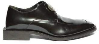 Balenciaga Logo-plaque Patent-leather Derby Shoes - Mens - Black Silver