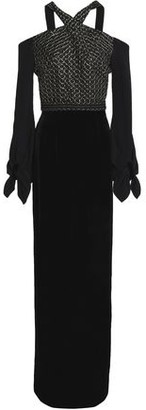 Roland Mouret Tadley Cold-shoulder Embroidered Crepe And Velvet Gown