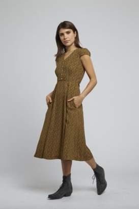 Louche Cathleen Passionflower Dress - 8 | mustard - Mustard