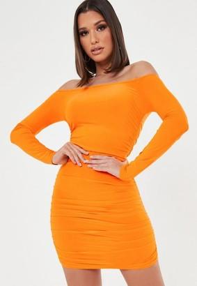 Missguided Plus Size Orange Ruched Long Sleeve Bardot Mini Dress
