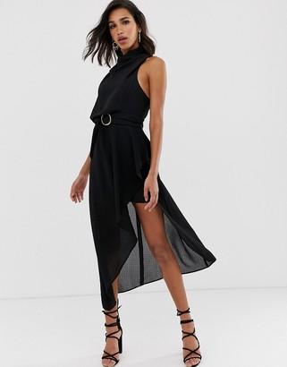ASOS DESIGN drape neck midi dress in textured fabric with self belt