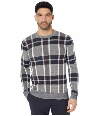 Perry Ellis Men's Plaid Texture Crew Sweater