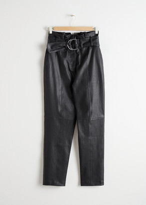 And other stories Paperbag Waist Leather Pants