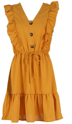 Goodnight Macaroon 'Laura' Ruffled Buttoned Peplum Dress (4 Colors)