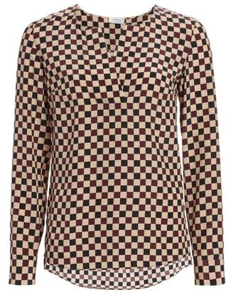 Akris Punto Chess Check Silk Long-Sleeve Top