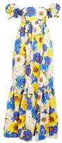 Borgo de Nor Antigone Floral-print Cotton-blend Dress - Womens - Yellow Multi