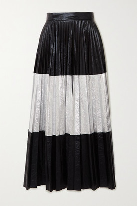 Christopher Kane Pleated Two-tone Crinkled-lame Maxi Skirt - Black