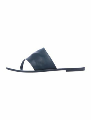 The Row Flat Thong Lambskin Slides Blue