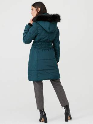 Very Waist Detail Longer Padded Jacket - Dark Green