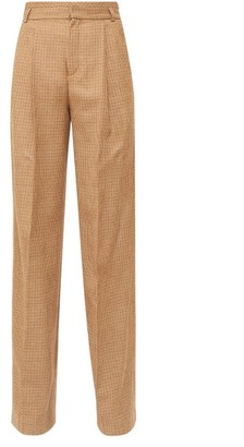 Chloé High-rise Checked Wool-twill Flared Trousers - Brown Multi