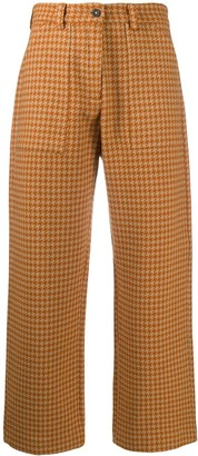Massimo Alba Cropped Houndstooth-Print Trousers