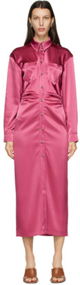 Nanushka Pink Satin Kinsley Dress